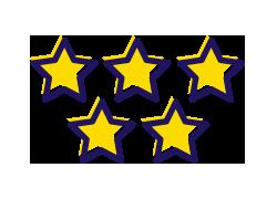 5 yellow stars