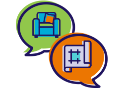 Two speech bubbles with furniture and planning icons inside