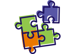 4 colorful jigsaw pieces